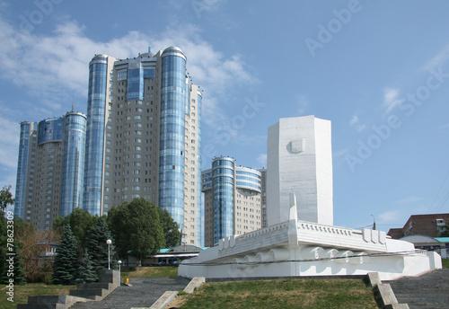 Valokuva  Monument Bark and modern buildings in Samara