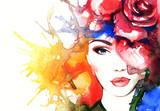 kobieta portret. abstrakcyjna akwarela. mody tło - 78625197