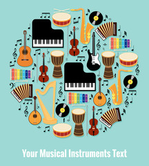 Fototapeta Assorted Musical Instruments Design with Text Area