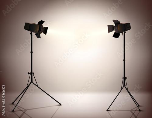 Foto op Canvas Licht, schaduw Standing Spotlights Background