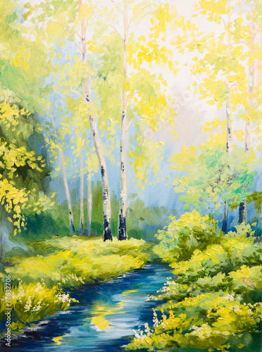 Fotobehang Zwavel geel oil painting - spring landscape, river in the forest, colorful w