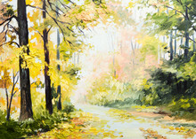 Oil Painting Autumn Landscape, Road In A Colorful Forest, Art Wo