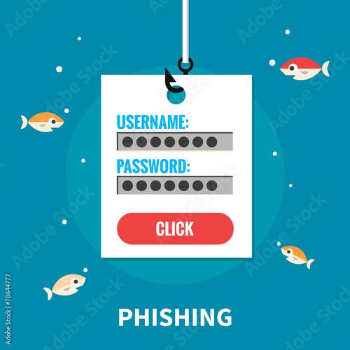 Fotografía  Phishing, identity theft - isolated flat vector illustration.