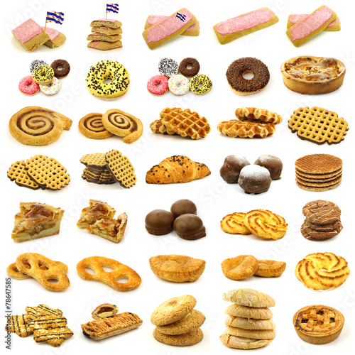 collection of freshly baked cake,waffles and buns Plakat