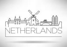 Netherlands City Line Silhouette Typographic Design