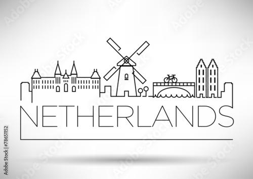 Netherlands City Line Silhouette Typographic Design Slika na platnu