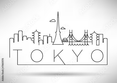 Tokyo City Line Silhouette Typographic Design Poster