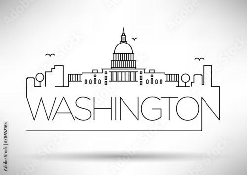 Fotografía  Washington D.C. City Line Silhouette Typographic Design