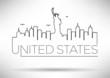 United States Line Silhouette Typographic Design