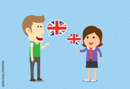 Fotografía  Women and man speaking English