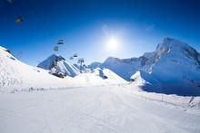 Ski Piste Panorama With Ropewa...