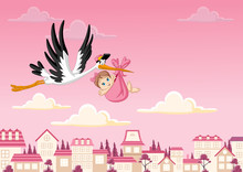 Cartoon Stork Delivering A Newborn Baby Girl