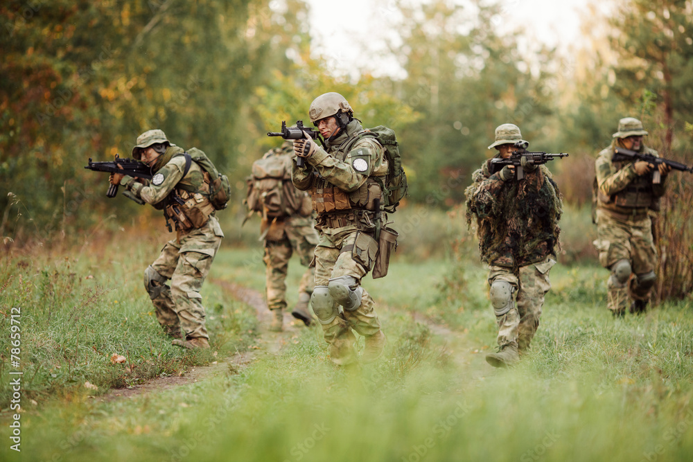 Fototapeta group of soldiers engaged in the exploration area