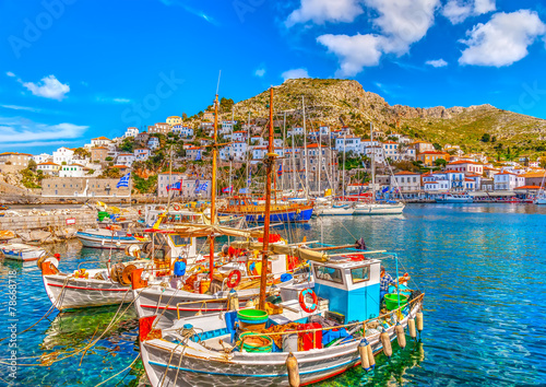 fishing boats in the port of Hydra island in Greece. HDR Wallpaper Mural