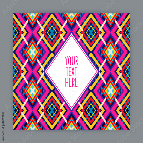 Fotobehang ZigZag card with geometric pattern - 2