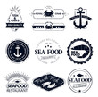 set of seafood logos. Crab lobster restaurant