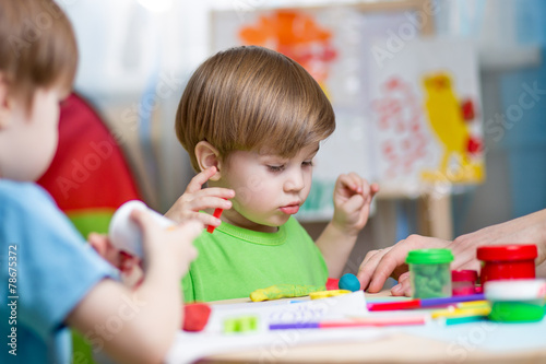 kids-with-play-clay-at-home