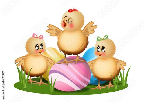 Autocollant pour porte Ferme пасхальные цыплята с яйцами на поляне