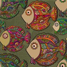 Colorful Seamless Pattern Of A Lot Of Beautiful Decorative Fishe