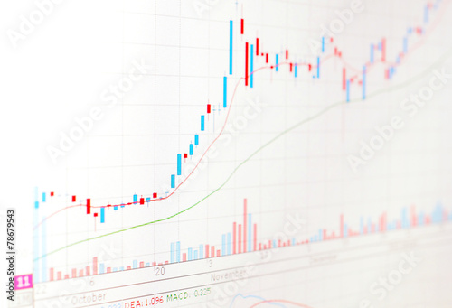 Fotografie, Obraz  Candle stick graph chart of stock trading