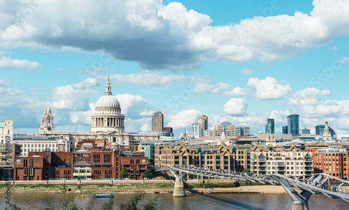 Thames river and St. Paul cathedral from south side Wallpaper Mural