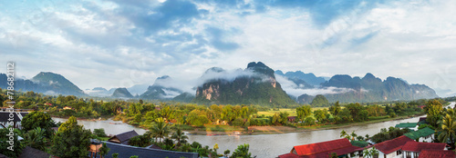 Fototapeta View for panorama in Vang Vieng, Laos. obraz na płótnie