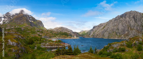 Foto op Aluminium Scandinavië scenic view of fjord, mountains, Norway, Lofoten
