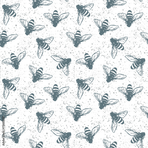Cotton fabric Grunge seamless pattern with insects.  Fashion illustration.
