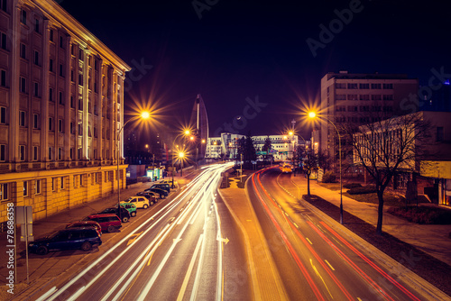 Photographie  Evening photo of cityscape with long exposure
