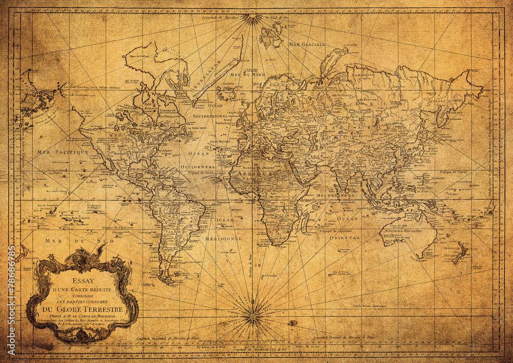 Fototapeta vintage map of the world 1778