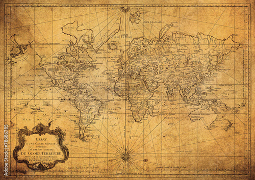 Poster Noord Europa vintage map of the world 1778