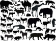 forty three isolated animals silhouettes