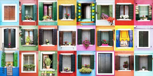 Fotografie, Obraz  Finestre colorate di Burano