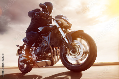 Motorbike at Sunset Poster