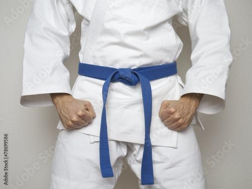 Fotografie, Obraz  Kampfsport Kämpfer blauer Gürtel Anzug