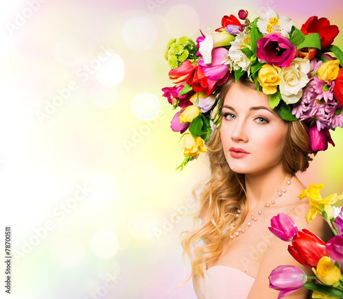 Fototapety, obrazy: Spring woman portrait. hairstyle with flowers
