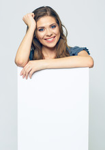 Smiling Woman Holding Blank Business Sign Board.
