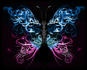 Fototapeta Motyle butterfly made of flourish abstract shapes