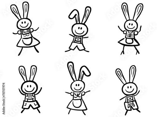 Set 6 Lustige Osterhasen Handgezeichnet Vektor Schwarz Weiß