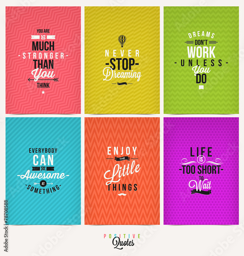 Deurstickers Positive Typography Set of Positive Quote Typographical Background
