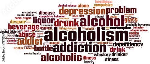 Photo Alcoholism word cloud concept. Vector illustration