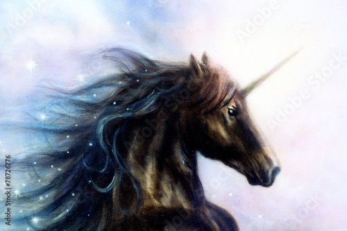 Photo  Horse, black unicorn in space, illustration abstract color backg