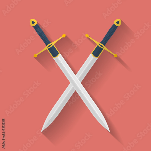 Icon of ancient swords. Flat style Poster Mural XXL