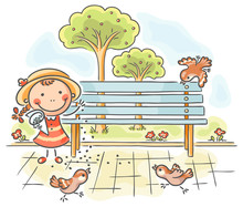 Girl Feeding Sparrows In The P...