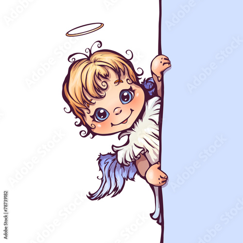 wektorowa-ilustracja-sliczny-aniol-z-panelem-dla-teksta