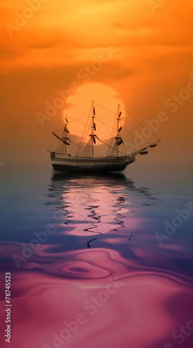 Fotobehang Rood Sailboat against beautiful sunset landscape