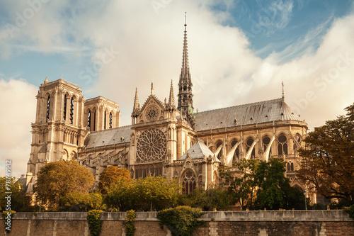 Fotografia Notre Dame de Paris cathedral, vintage toned photo