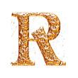 Golden alphabet letter R on white background