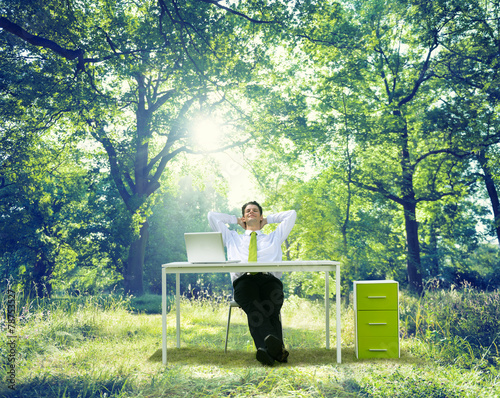 Relaxing Business Working Outdoor Green Nature Concept Poster