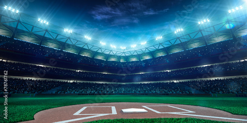 Professional baseball grand arena in night Wallpaper Mural